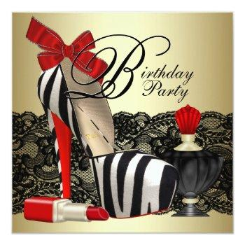 red zebra high heel shoes black red zebra party invitation