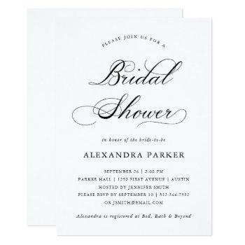 refined black and white calligraphy bridal shower invitation