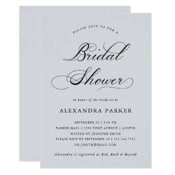 refined | calligraphy on soft gray bridal shower invitation