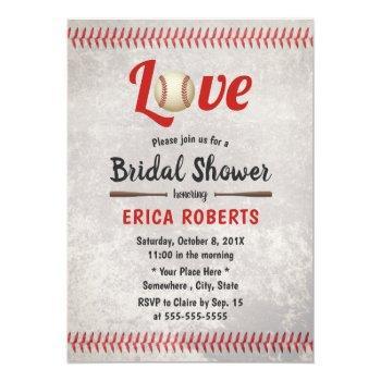 retro baseball love sports wedding bridal shower invitation
