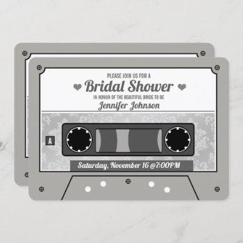 retro cassette tape bridal shower invitation