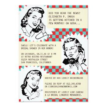 retro gossip gals bridal shower invitations