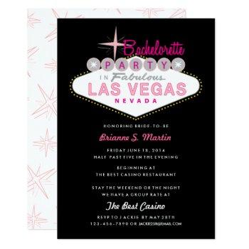retro las vegas sign pink black bachelorette party invitation