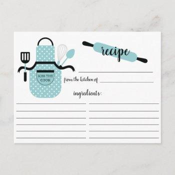 retro turquoise apron kitchen tools recipe card