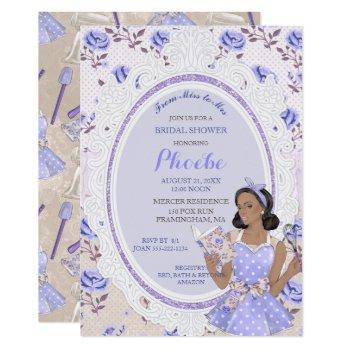 retro vintage housewife 50's bridal shower ethnic invitation