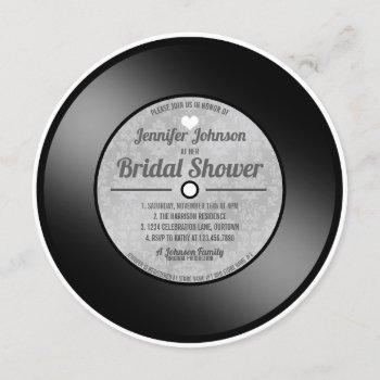 retro vinyl record bridal shower invitation