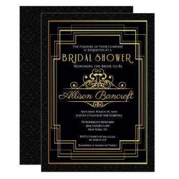 roaring 20's art deco bridal shower invitation
