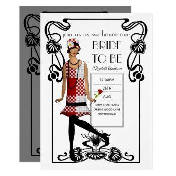 roaring 20s flapper art deco gatsby bridal shower invitation