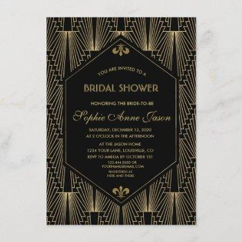 roaring 20s great gatsby art deco bridal shower invitation