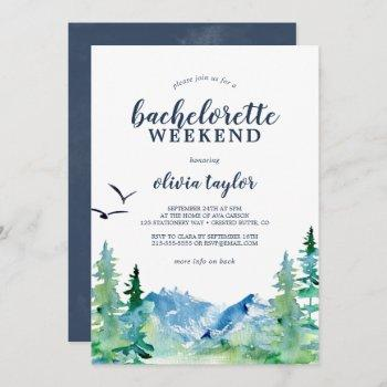 rocky mountain bachelorette weekend with details invitation