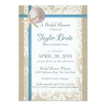 romantic beach and lace blue bridal shower invitation