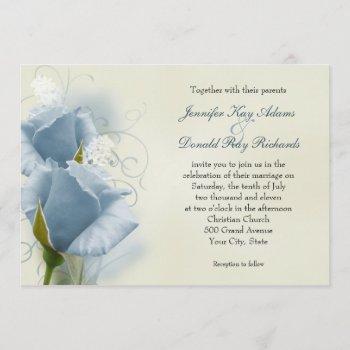 romantic blue roses wedding invitation