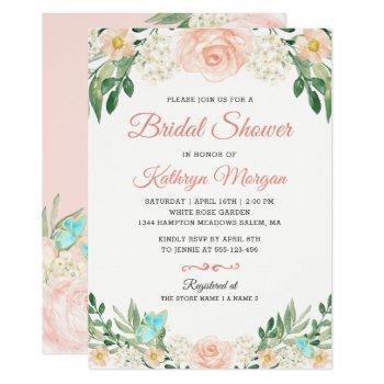 romantic blush peach floral blossom bridal shower invitation