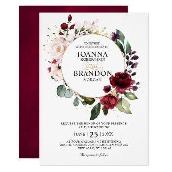 romantic burgundy blush floral geometric wedding invitation