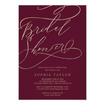 romantic burgundy calligraphy bridal shower invitation
