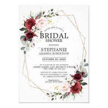 romantic burgundy floral geometric bridal shower invitation