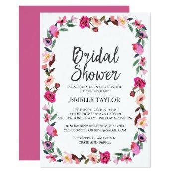 romantic fairytale blossom wreath bridal shower invitation