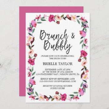 romantic fairytale blossom wreath brunch & bubbly invitation