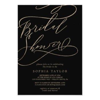 romantic gold calligraphy | black bridal shower invitation