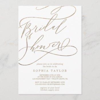 romantic gold calligraphy | flourish bridal shower invitation