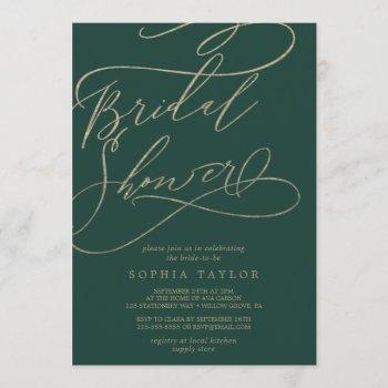 romantic green calligraphy flourish bridal shower invitation