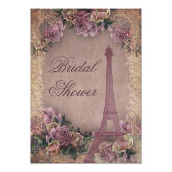romantic paris vintage roses lace bridal shower invitation