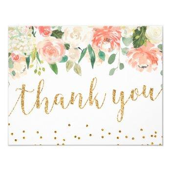 romantic peach floral thank you card