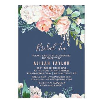 romantic peony flowers | blue bridal tea invitation