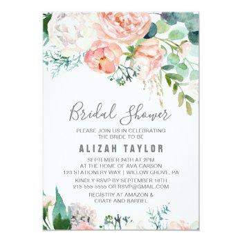 romantic peony flowers bridal shower invitation