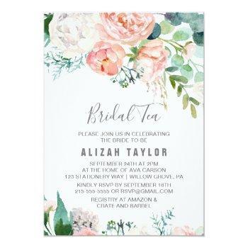 romantic peony flowers bridal tea invitation