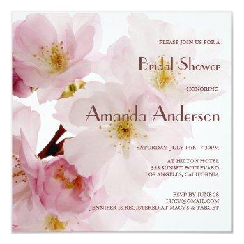 romantic pink cherry blossoms bridal shower invitation