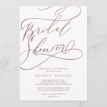 romantic rose gold calligraphy bridal shower invitation