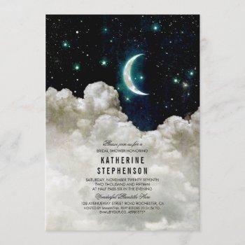 romantic stars and moon bridal shower invitation