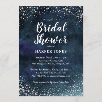 romantic stars navy blue silver bridal shower invitation