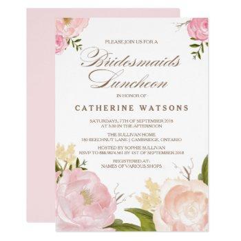 romantic watercolor flowers bridesmaids luncheon invitation