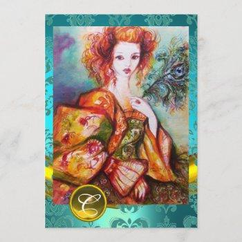 romantic woman with sparkling peacock feather invitation