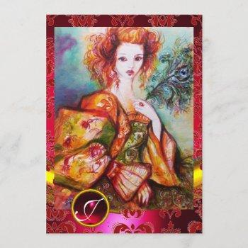 romantic woman with sparkling peacock feather,red invitation