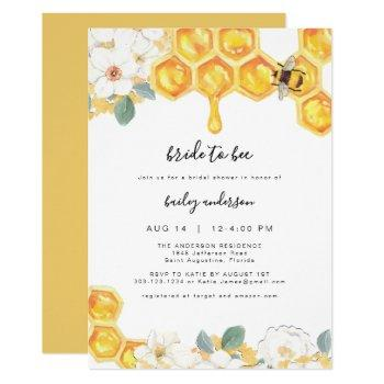 romy - floral honey bumble bee bridal shower invitation