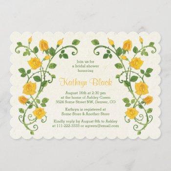 rose bridal shower invitation | yellow watercolor
