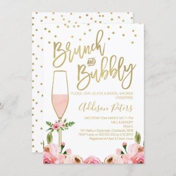 rose floral brunch bubbly bridal shower invitation