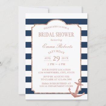 rose gold anchor nautical stripes bridal shower invitation
