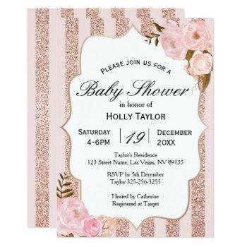 rose gold baby shower invitation