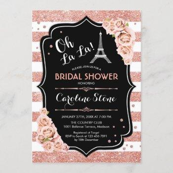 rose gold black french style bridal shower invitation