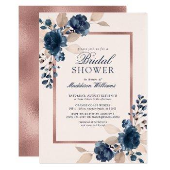 rose gold blue dusty pink floral bridal shower invitation