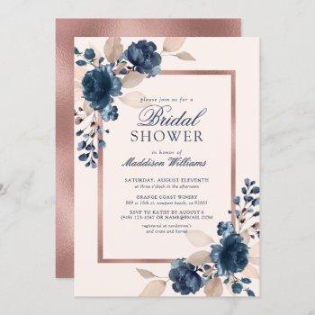rose gold blue dusty pink floral bridal shower invitation