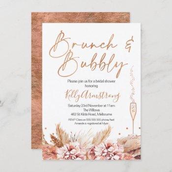 rose gold brunch bubbly boho bridal shower invitation