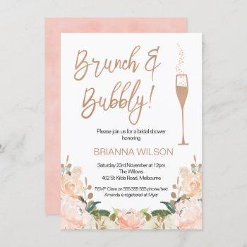 rose gold brunch bubbly bridal shower invitation