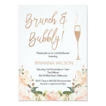 Rose Gold Brunch Bubbly Bridal Shower Invitation Front View