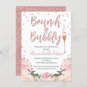 rose gold brunch bubbly bridal shower invitations