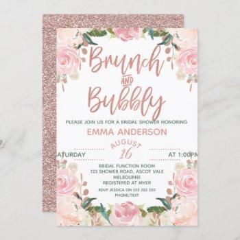 rose gold brunch bubbly floral bridal invitation